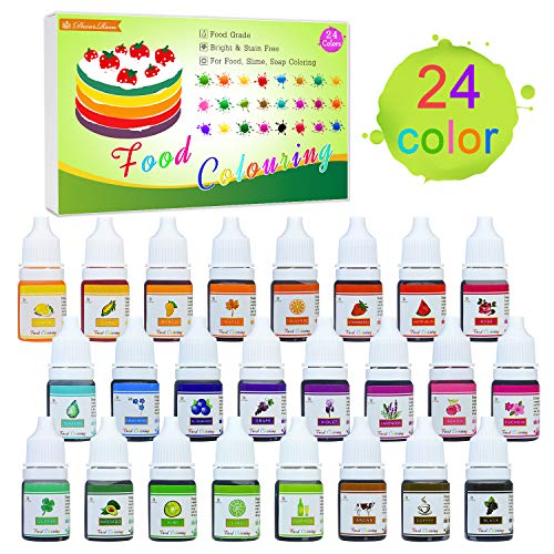 24 Colour Food Colouring - Liquid Concentrated Cake Food Colouring Set for Baking, Decorating, Cooking and Icing - Rainbow Food Colours Dye for DIY Slime Making and Crafts - 6ml Bottles