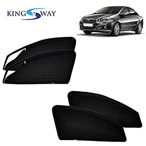 Kingsway kkmmsszp00046 Magnetic Sun Shades for Fiat Linea (Set of 4, Black)
