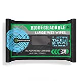 Surviveware Biodegradable Wet Wipes for No Rinse Bathing and Showers. Great for Camping, Travel, Gym, Commute and Body Cleansing, Personal Hygiene and Cleaning. Hypoallergenic & Unscented