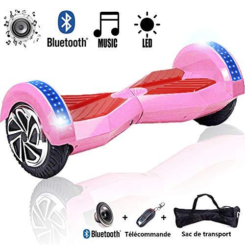 Magic Vida Skateboard Électrique 8 Pouces Bluetooth Puissance 700W avec LED sur 2 Roues Sac de Transport + Télécommande (Rose & Rouge)