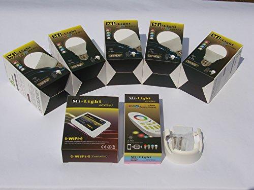 Mi-Light 2,4G 1 x Fernbedienung 4 Zonen + 1 x Halter für FB + 5 x E27 LED RGB+CW (kalt weiß) Lampe 6 Watt original MILIGHT® , dimmbar, RGB Farbwechsel + Mi-Light Wlan Controller IBOX2 , ansteuerbar via App IOS / Android