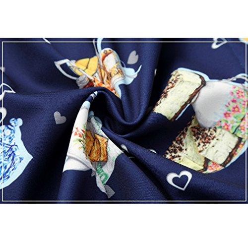 Honghu Herren Casual Regular Fit Stretch Langarm Button-down Drucken Hemden Blau