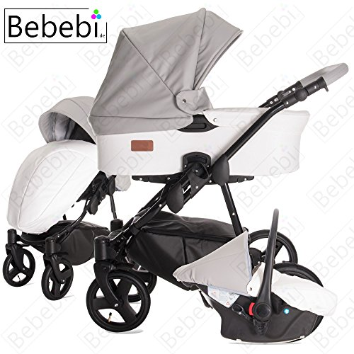 Bebebi | Modell ECO Wing | Hartgummireifen in Schwarz | 3 in 1 Kombi Kinderwagen Coconut ECO Leather