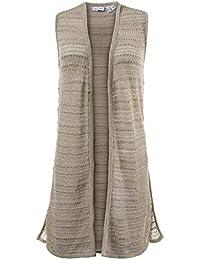 GINA LAURA Damen Strickweste, Lange Form, Streifen-Struktur, Seiten-Schlitze, Grob-Strick 172541