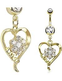 Paula & Fritz Piercing Ombligo de acero quirúrgico 316L 14 de acero inoxidable chapado en oro colgante flor en corazón con letras amor incolouras circonios GDPN13418