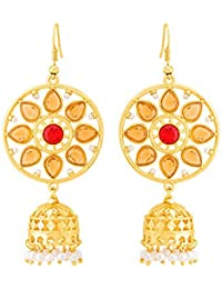 Voylla Deewan Floral Gold Plated Dangler Earrings For Women