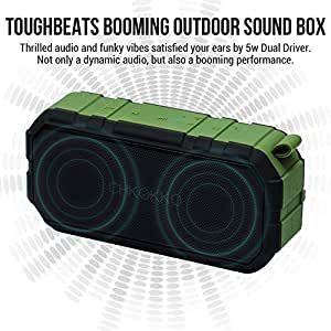 CHKOKKO Toughbeats TB406 Waterproof Bluetooth Speakers with Dual Drivers (Green)