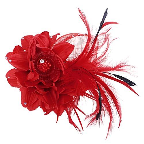 Brosche Pins Corsage Brosche Breastpin Handmade Blume Haarspangen Haarnadeln Kopfbedeckung für Frauen Mädchen (Rot) ()