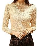 Best-Preis Chic OL Damenbluse Spitzenbluse Lace Hemdbluse Langarmshirts Perlen Stehkragen Tops in 7 Farben