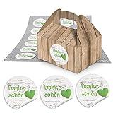 48 kleine Mini-Geschenkkarton Faltschachtel braun natur 9 x 12 x 6 cm ohne Griff + 48 runde Aufkleber grün weiß gepunktetes Herz DANKE für Gastgeschenke zur Hochzeit