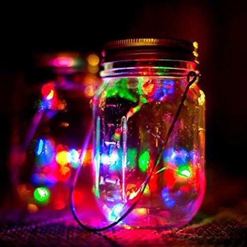 Solar Mason Jar Lichter LEDMOMO Gläser Deckel Licht für Outdoor Garten Baum Party Weihnachtsdekoration (Bunt)