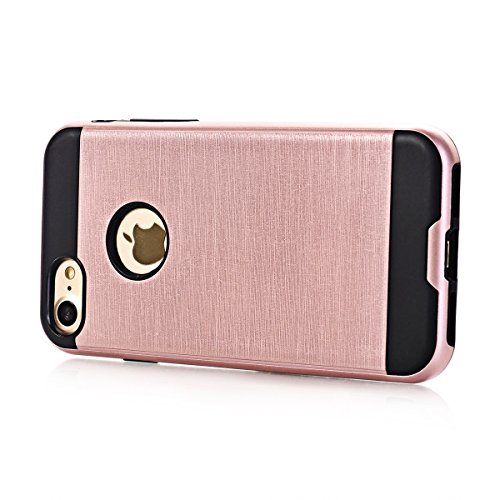 "MOONCASE iPhone 7 Coque, Dual Layer Hybrid Brushed Armure Defender Housse Slim Fit Durable Anti-choc Protection Étuis Case pour iPhone 7 4.7"" Hotpink Or Rose"