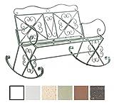 CLP silla mecedora SILLY, banco de jardín para dos personas, hierro barnizado, aprox. 120 x 45, altura 95 cm verde envejecido