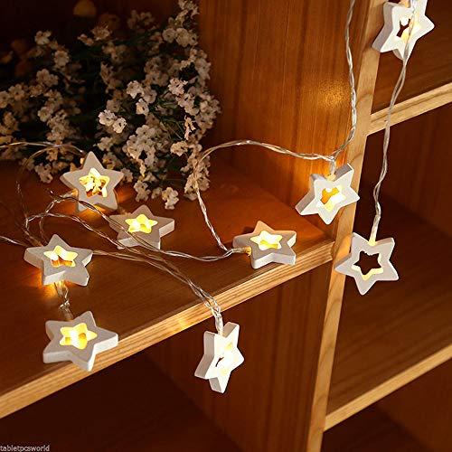 Lichterkette FeiliandaJJ 10/20/30LED 1/2/3M Holz Pentagramm IP55 Wasserdicht LED Licht Dekoration für Outdoor, Terrasse, Rasen, Landschaft, Märchengarten, Haus,Weihnachtsbaum String Lights (30LED)