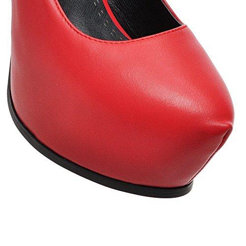 AgooLar Femme Tire à Talon Haut Pu Cuir Rond Chaussures Légeres Rouge