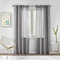 Gardinen Schals In Leinen Optik Leinenstruktur Vorhänge Schlafzimmer  Halbtransparent Vorhang Für Kleine Fenster Solid Sheer