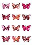 Essbares Oblaten-Papier im Schmetterling-Design mit Rosen-Muster, 12 Stück