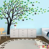 MAFENT Wandaufkleber mit Baum im Wind, Vinyl, für Kinderzimmer, Teenager, Mädchen, Jungen, Tapeten, Wandsticker, Wandaufkleber, Wandaufkleber, Kinderzimmer-Dekor, schwarz
