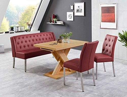 Tischgruppe Milan Honigeiche bordeaux Bank 2x Stuhl Säulentisch Esstisch Tisch Sitzgruppe Bankgruppe - Milan-bank