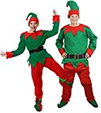 Disfraz de elfo navideño para adulto (camiseta, pantalón, cinturón, gorro y zapatos con pompones)