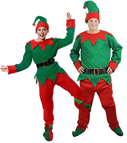 Ilovefancydress - Costume da elfo, aiutante di Babbo Natale o folletto impertinente, completo di maglia, pantaloni, cintura, cappello e scarpe, disponibile nelle taglie dalla XS alla XXL