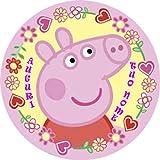 WFWD Cialda in Ostia per Torta Tonda Peppa Pig Personalizzata, cialde, ostie, Torte, Topper, Mis. in cm Diametro 20