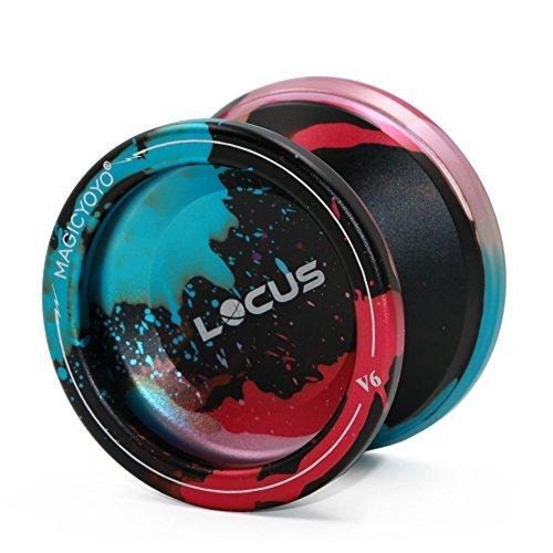 Pro Responsive Yoyo für Anfänger MAGICYOYO V6 LOCUS SPACE Matt Metal Jojo mit Pouch Handschuh 5 Strings (Schwarz & Rot & Blau)