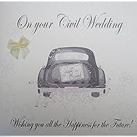 """White Cotton Cards PD199m """" para boda, diseño de ángel con paloma en tu Civil boda con texto en inglés la felicidad For The future!"""" tarjeta Civil hecho a mano"""