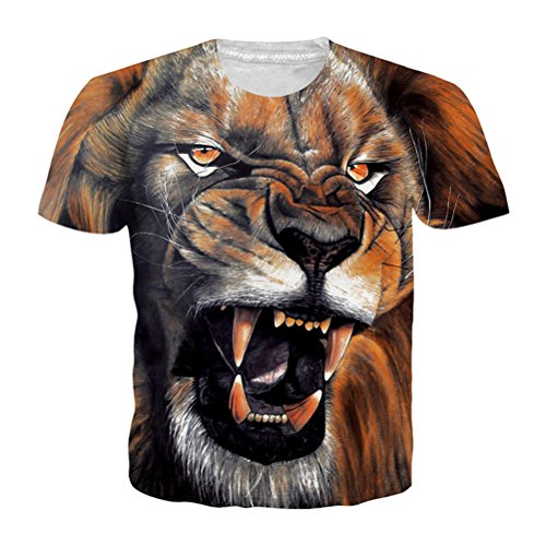 Malerei Lion T Shirt 3D Tier Adler Wolf Owl Tiger Print Sommer Top Plus Größe Unisex - Lion Bettbezug