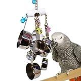 Steellwingsf Parrot Bird Edelstahl-Topf Kauen Bite Toys Käfig Anhänger Decor Pet Supplies–zufällige Farbe
