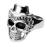 Piersando Herren Ring Edelstahl Biker Poliert Totenkopf Skull mit Hut Motiv Herrenring 23mm Breit Silber Größe 59 (18.8)
