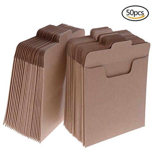 Paquete de 50 sobres de papel Kraft para CD y DVD, fabricados con papel de cartón, 12,45x12,45cm caqui