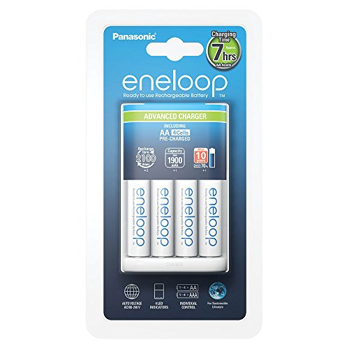 Panasonic eneloop, Intelligentes Premium-Ladegerät mit 4x eneloop AA, für 1-4 Ni-MH Akkus AA/AAA