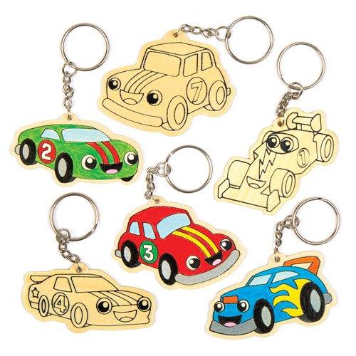 """Schlüsselanhänger """"Rennwagen"""" aus Holz für Kinder zum Bemalen, Dekorieren und Gestalten – Kreatives Bastelset für Kinder (6 Stück)"""