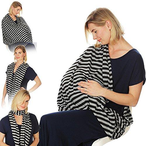 Sciarpa per infermiera infinity per infermiera per allattamento al seno (strisce nere grigie nere)