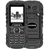N.ORANIE AORO IP68 Wasserdichtes Stoßfestes staubdichtes Militär schroff 2G GSM Handy mit Lautsprecher, Taschenlampe + 2 Batterien und Unterstützung Dual Sim Outdoor Handy (Schwarz)