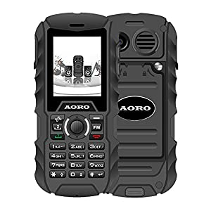 N.ORANIE AORO IP68 Waterproof Shockproof Dustproof Explosion-proof Military Level Rugged Mobile Phone with Loud Speaker Flashlight & 2 Battery and Support 2 Unlocked SIM Cards for Outdoor Adventure Wild Trip(Black)