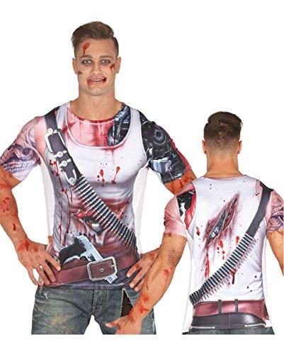 Cyborg T-Shirt mit blutigen Details als Sci-Fi-Verkleidung für Halloween One (1 Kostüm Terminator)