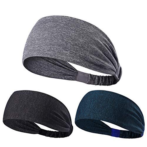 NUREINSS Adult Stirnband 3PCS Non Slip Unisex Stretch Elastische Sport Schweißband Headbands Head Wrap für Yoga, Basketball, Running, Fußball, Tennis-Haarschmuck, Color1, 24CM - Sportliche Slip Wrap