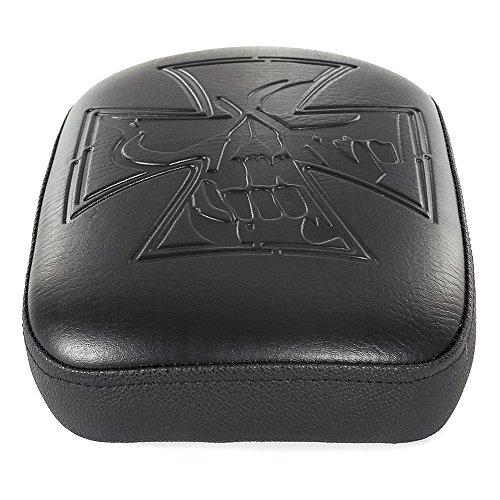 Motorrad Synthetik Leder 8Saugnäpfe schwarz rechteckig Sozius Beifahrer Pad Sitz für Harley Custom Chopper Cruiser (Chopper Sitz)