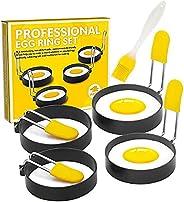 حلقة البيض للقلي البيض والمافن الإنجليزي - قالب تشكيل البيض الدائري مع مقبض مضاد للحروق - خاتم طهي البيض غير ل