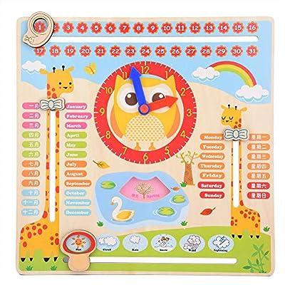 Todo Sobre El Día de Hoy Reloj Educativo de Madera Reloj de Calendario Tablero de Enseñanza Reloj Calendario Mostrar Fecha Temporada Tiempo Clima Juguete Cognitivo Para Niños de Garosa