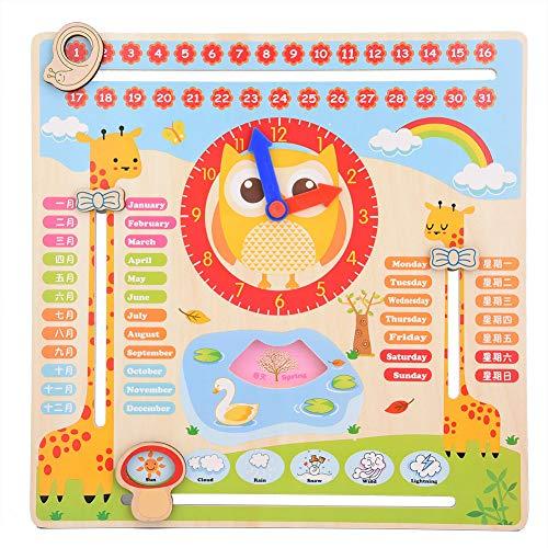 Tutto su oggi giocattolo di orologio educativo in legno insegnamento del bordo del calendario orologio show calendario data stagione tempo metereologico giocattolo cognitivo per bambini