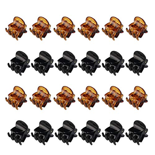 Jerbro 24 Pezzi Mini Mollettoni Capelli Clip Accessori per Capelli Plastica Pinze Grips per Artigli per Capelli per Ragazze e Donne Nero e Marrone