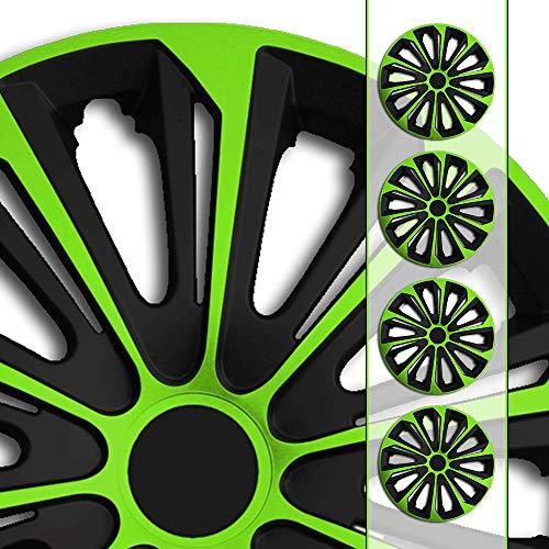 Eight Tec Handelsagentur (Größe und Farbe wählbar!) 15 Zoll Radkappen/Radzierblenden STR/6 GRÜN (Farbe Schwarz-Grün), passend für Fast alle Fahrzeugtypen (universell) - nur beim Radkappen König