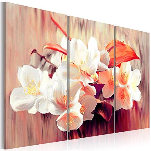 Cuadro en Lienzo Impresion en calidad fotografica! Cuadro en lienzo tejido-no tejido flores Beach 3 partes 0107-21 60x40 cm B&D XXL