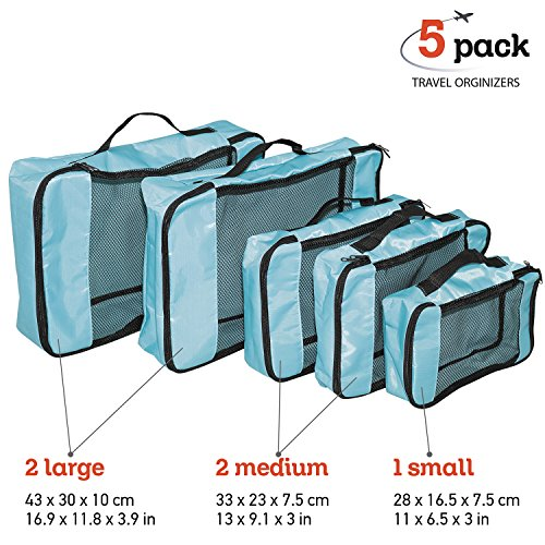 Wonder Worker TRIP Kit de 5 Cubos de Embalaje Organizadores de Equipaj