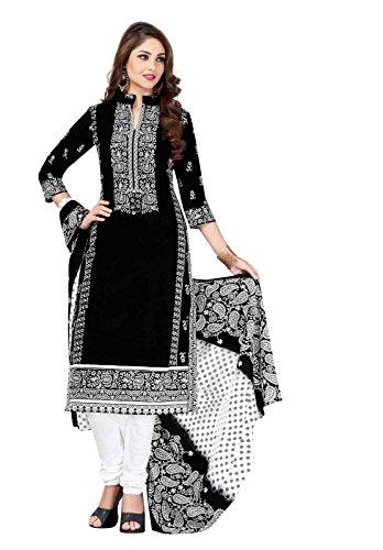 RK Fashion Womens Cotton Un-Stitched Salwar Suit Dupatta Material ( RAJGURU-RTC-KIYARA-1103-Black-Free Size )