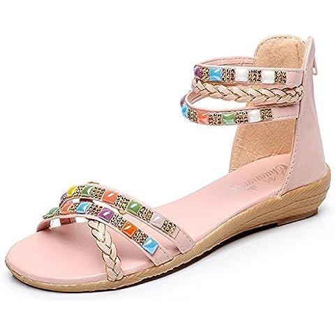 Minetom Mujer Playa Sandalias Diamante De Imitación Trenzado Banda Zapatos Estilo Bohemio Verano Sandalias