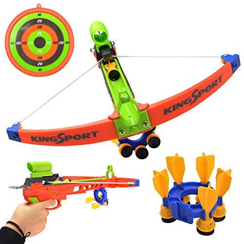 ZSHJG Spielzeug Armbrust Outdoor Kinder Spielzeug Bogen & Pfeil Armbrust Crossbow Set Garten Spiele Armbrust Kit mit 5 Sticky Sucker Saugpfeile für Kinder